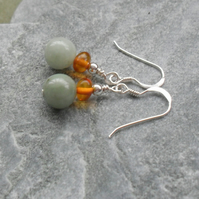 Burmese Jadeite and Baltic Amber Sterling Silver Earrings