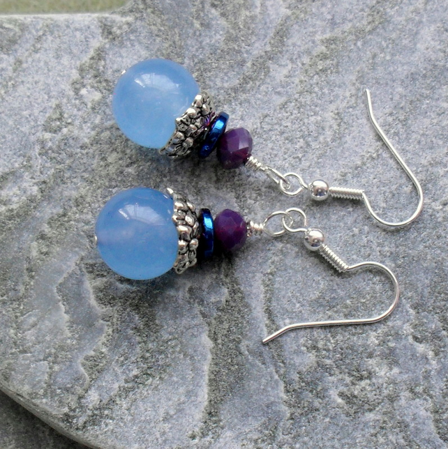 Blue Quartz Haematite and Crystal Drop Earrings