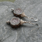 Czech Glass Brown Flower Sterling Silver Earrings