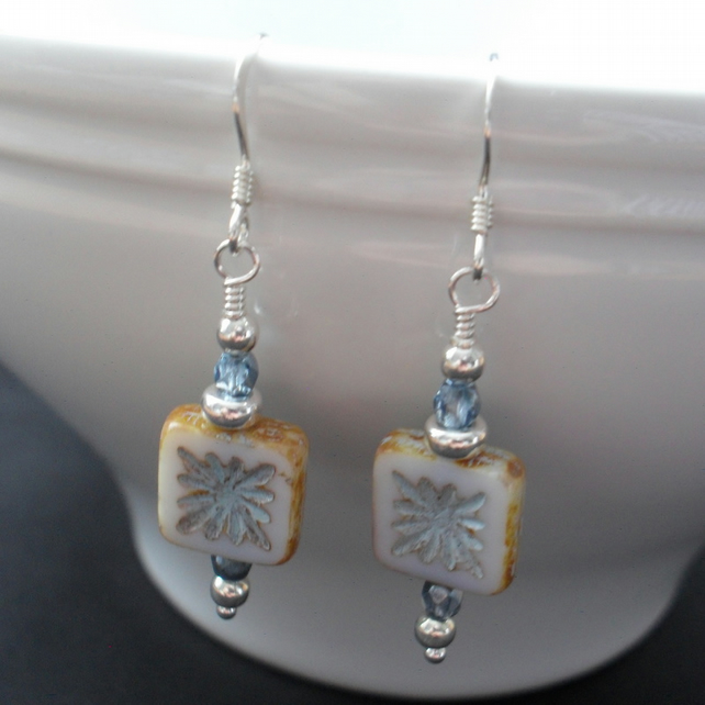 Czech Glass Dangle Sterling Silver Earrings