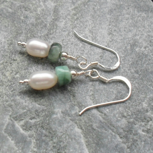 Dainty Freshwater Pearls and Emerald Sterling Silver Drop Earrings