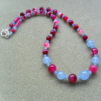 Blue Quartz and Fuchsia Agate Beaded Necklace