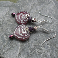 Lilac Czech Glass Heart Earrings