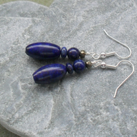 Lapis Lazuli and Pyrite Silver plated Earrings