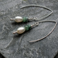 Freshwater Pearls and Emerald Sterling Silver Earrings
