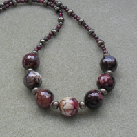 Agate Pyrite Marcasite and Garnet Beaded Necklace Vintage