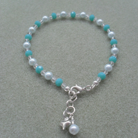 Shades Of Aqua Beaded Anklet