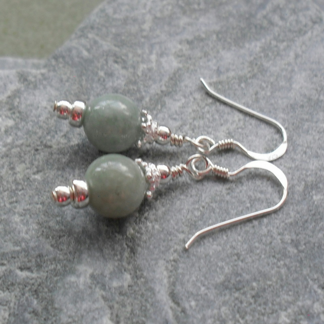Sterling Silver Burmese Jadeite Drop Earrings