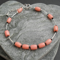 Dainty Coral and Black Spinel Stacker Style Bracelet Sterling Silver