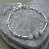 Moonstone and Tanzanite Sterling Silver Stacker Style Bracelet