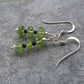 Sterling Silver Peridot and Black Spinel Earrings August Birthstone