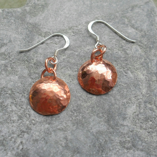 Small Copper Disc Earrings With Sterling Silver Ear Wires