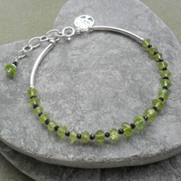 Peridot and Black Spinel Sterling Silver Dainty Bracelet August Birthstone