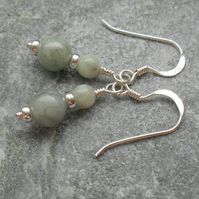 Burmese Jadeite Gemstone Sterling Silver Drop Earrings Jade Earrings