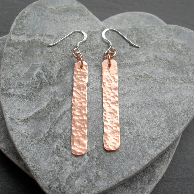 Copper Bar Earrings and Sterling Silver Ear Wires