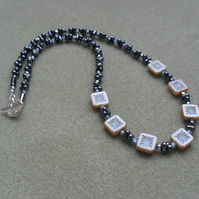 Czech Glass Blue beaded silver plated Necklace