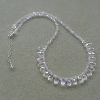 Sterling Silver Sparkle Crystal Necklace With Glass Crystals