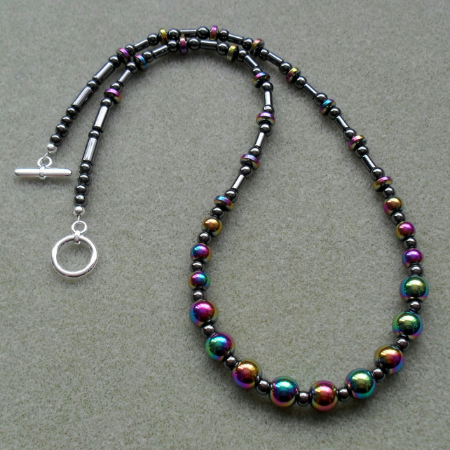 Rainbow Haematite Beaded Necklace