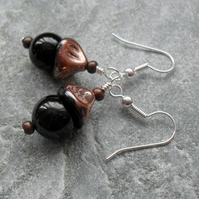 Black Agate and Copper Tone Czech Glass Earrings