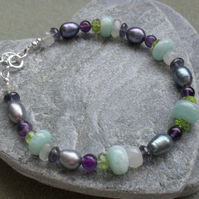 Sterling Silver Multi Gemstone and Pearl Bracelet