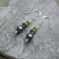 Sterling Silver Freshwater Pearls Peridot and Iolite Earrings