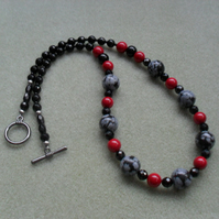 Black Onyx Red Shell Pearl and Snowflake Obsidian Necklace