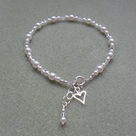 Sterling Silver Pearl and Crystal Anklet With Swarovski Elements