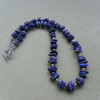 Natural Lapis Lazui and Pyrite Semi Precious Sterling Silver Necklace