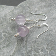 Lilac Amethyst Sterling Silver Drop Earrings