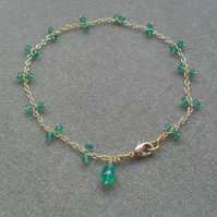 Green Onyx Gold Plated Anklet
