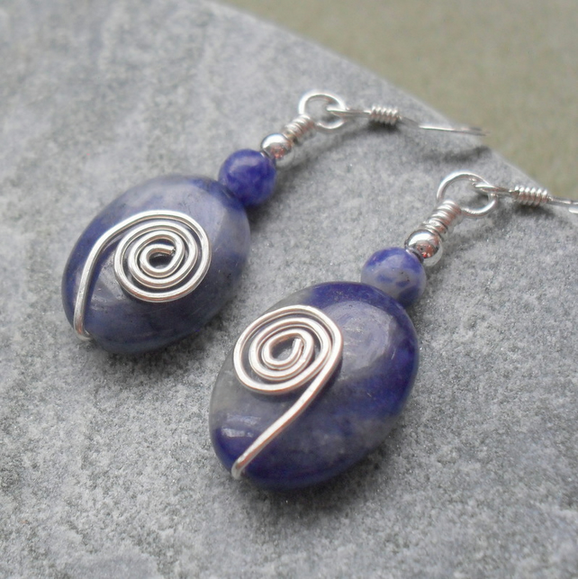 Sodalite Sterling Silver Wire Wrapped Earrings