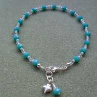Aqua Coloured Glass Beaded Anklet