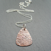 Dandelion Copper Drop Pendant With Sterling Silver Chain Vintage Style