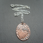 Copper Oval Heart pendant With Sterling Silver Chain Vintage Style