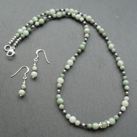 Sterling Silver Burmese Jadeite Necklace and Earrings Jade Necklace