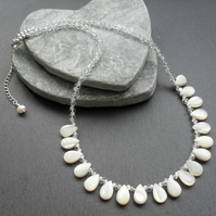 Sterling Silver Mother of Pearl Necklace With Glass Crystals and Beads
