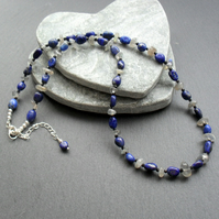 Lapis Lazuli  Labradorite and Black Spinel Sterling Silver Necklace