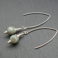 Burmese Jadeite V Shaped Gemstone Sterling Silver Earrings Jade Earrings