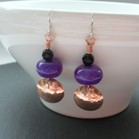 Copper and Agate Purple and Black Drop Earrings