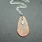 Copper Drop Pendant With Sterling Silver Heart Charm Vintage Style