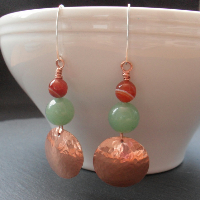 Copper ,Green Aventurine and Agate Drop Earrings