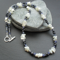 Mother of Pearl Sodalite and Glass Bead  silver plated Necklace