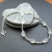 Frosted White Quartz Green Aventurine and Glass Bead silver plated Necklace