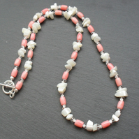 Mother of Pearl Salmon Pink Coral and Glass Bead  silver plated Necklace