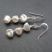 Sterling Silver Keshi Pearl Drop Earrings