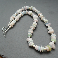 Morganite Aquamarine Emerald  Semi Precious Gemstone Sterling Silver Necklace