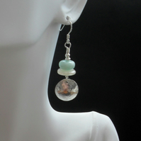 Sterling Silver Disc Earrings With Amazonite and Chalcedony  Drop Earrings