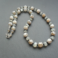 Tibetan Agate Moonstone and Black Onyx Beaded Necklace Sterling Silver