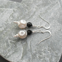 Tibetan Agate and Black Onyx Sterling Silver Drop Earrings