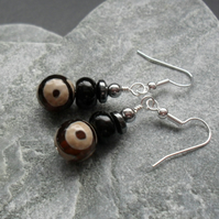 Agate and Haematite Silver Plate  Earrings